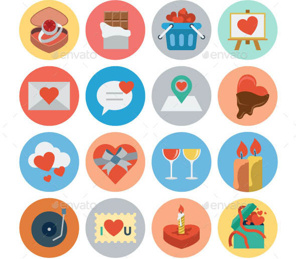 75 Flat Love and Romance Icons
