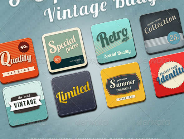 8 Square Vintage Badges
