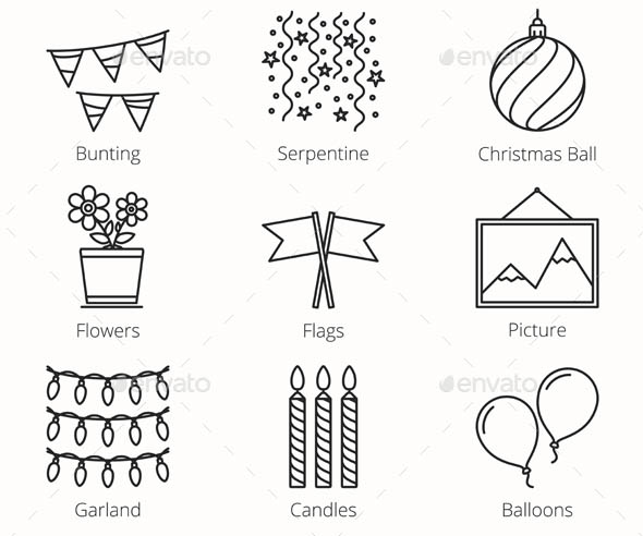 9 Decoration Objects Line Icons