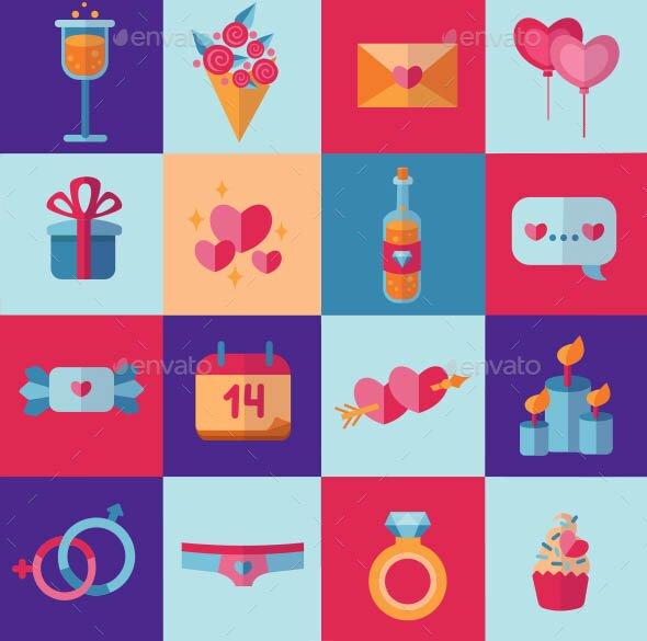 Happy Valentines Day flat icons set