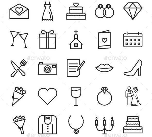 Wedding Line Icons 01