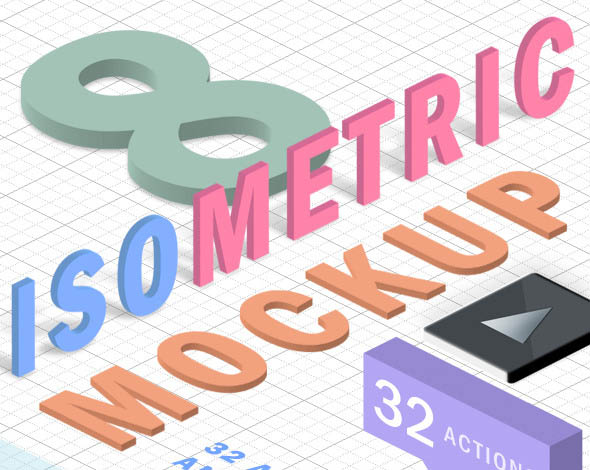 3D Isometric Mockup Action Isometry 3D Actions