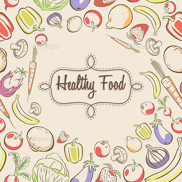 A vector illustration of healthy food poster design