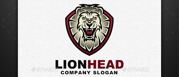 Lion Head Lion Shield Logo