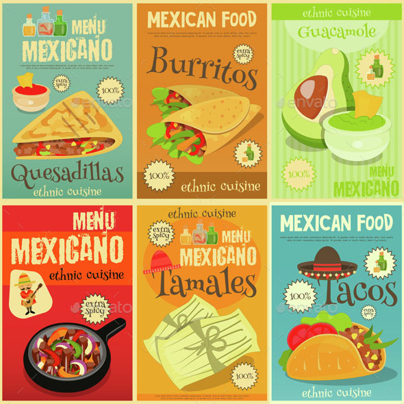 Mexican Food Mini Posters Set