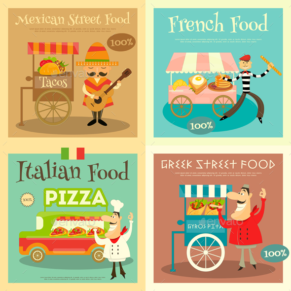Street Food Festival Posters Set. Sellers and Trucks with Food. Mexican, Italian, Greek, French Cuisine. Vector Illustration.