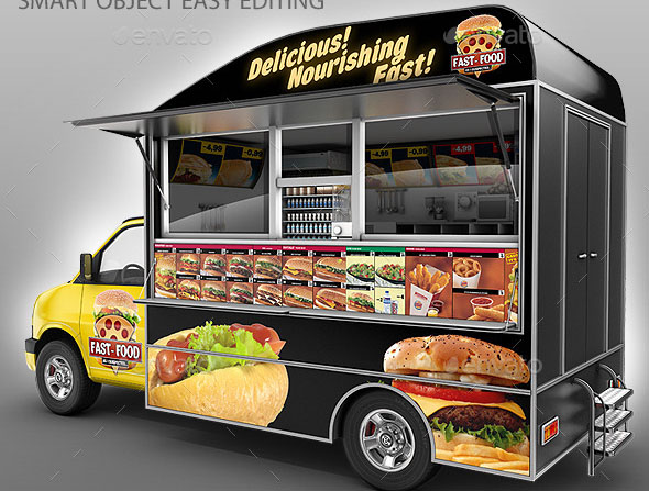 20 cool food product mockup psds design freebies for Cool food truck designs