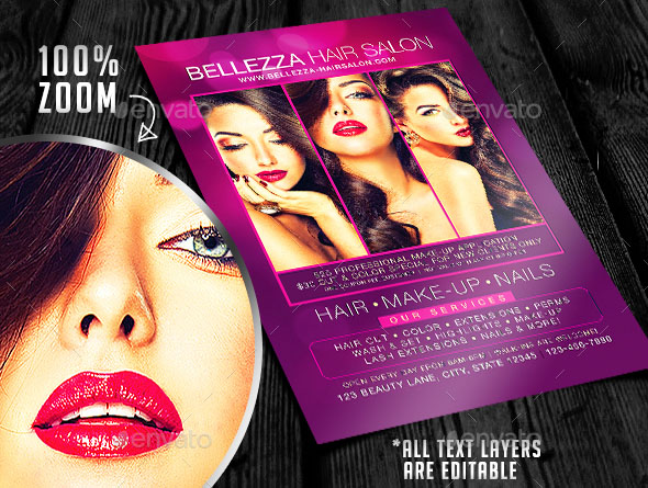 Cool Flyer Templates For Hair Design Freebies - Hair salon brochure templates