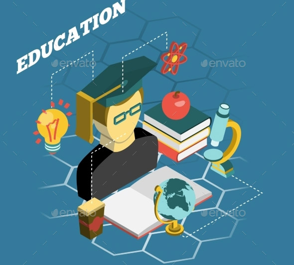 Education Reading Concept Isometric Banner