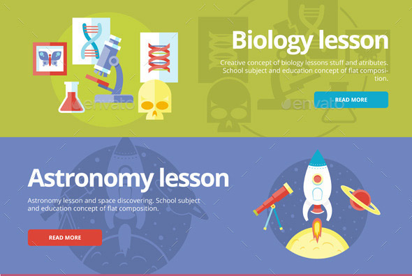 Flat School & Education Concept Banners