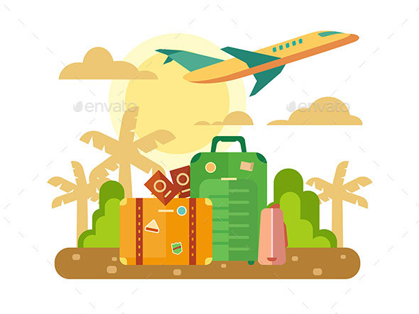 Summer Vacation Travel Flat Illustration