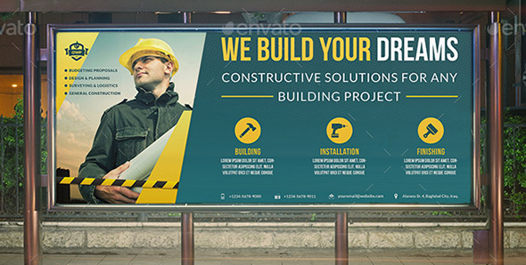 Construction Business Billboard Template Vol4