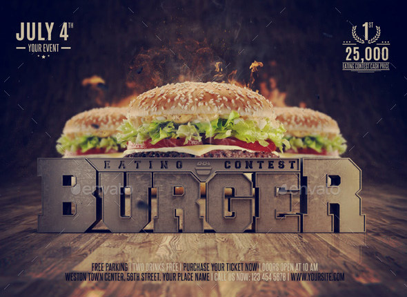 Eating Contest Burger Flyer