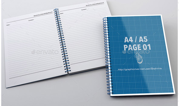 Notebook Mock-Up For A4 A5
