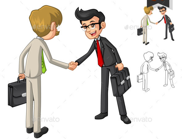Businessman Hand Shake Poses with Client