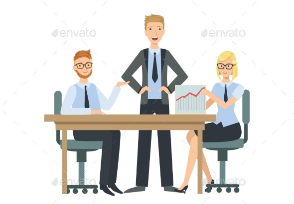 Managers Sitting Behind The Desk Presenting