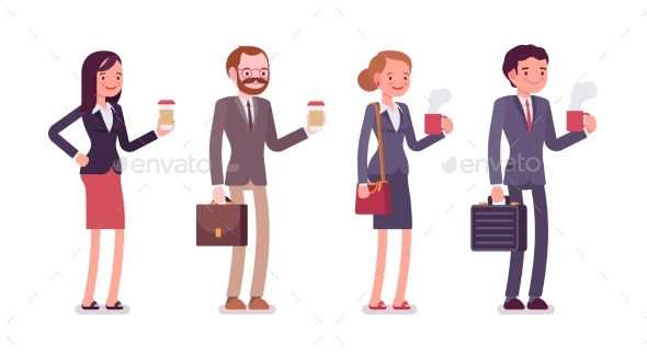 Office Workers With Coffee