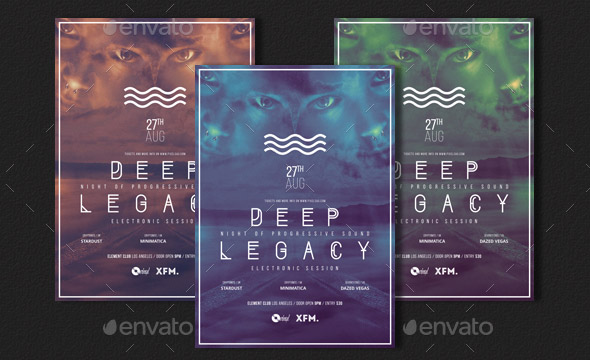 Deep Legacy Minimal Party Flyer Poster Template A3