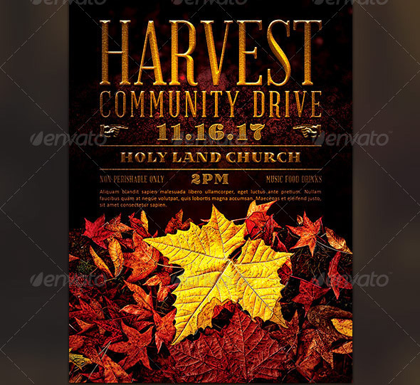harvest-community-drive-church-flyer-template