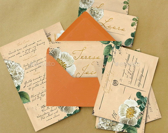 vintage-floral-postcard-wedding-invitation-package
