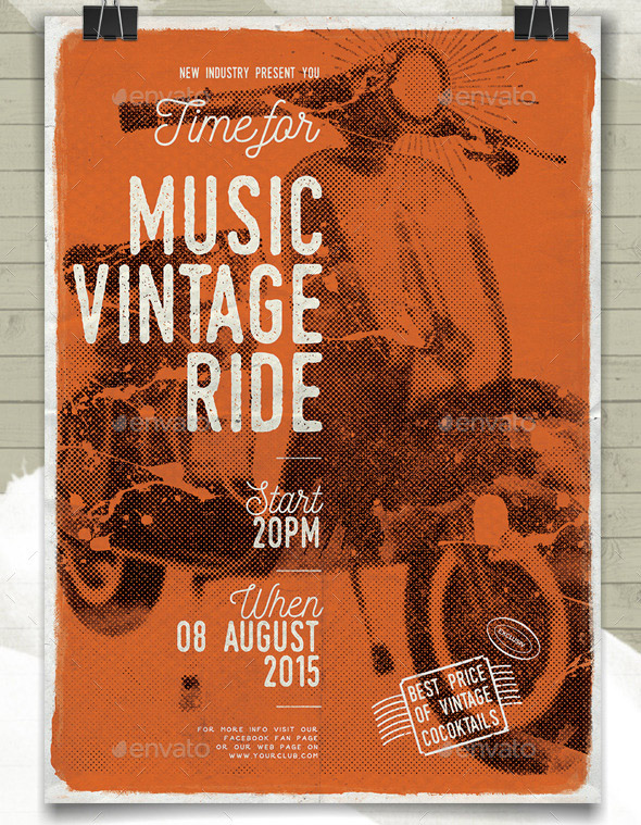 music-vintage-ride-flayer-poster