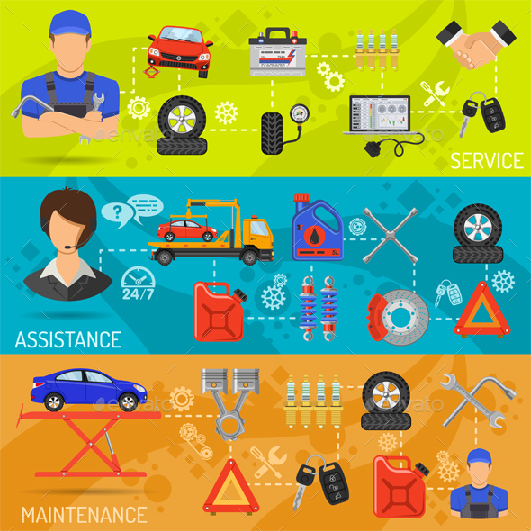 Car Service, Roadside Assistance and Maintenance Horizontal Banners with Flat Icons Mechanic, Support and Tow Truck. Vector illustration.