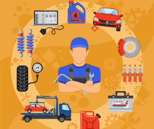 Car Service and Assistance Concept with Flat Icons Mechanic and Tools. Vector illustration.