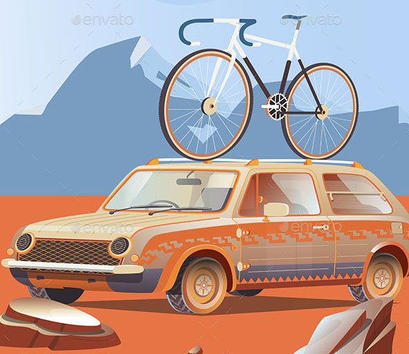 Retro Car with Bicycle on Top