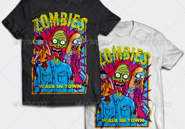 zombies-walk-in-town-t-shirt-design
