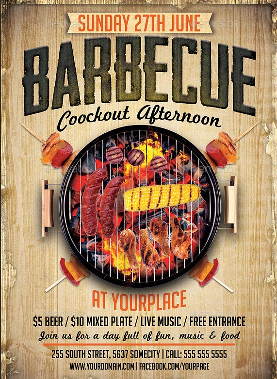 17 cool barbecue party event flyer templates design freebies for Barbeque flyer template